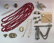 Lot Antique Victorian And Vintage Jewelry Flapper Glass Cameo Sterling Gold Filled