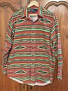 Vtg Polo Southwest Indian Navajo Red Long Sleeve Button Rrl Shirt L