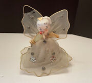 Vintage Tulle Angel Tree Topper Chenille Arms Mercury Beads Japan