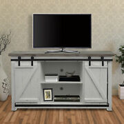 Farmhouse Style Media Console With Barn Style Sliding Door, Brown And White
