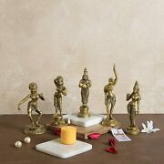 Brass Apsara Showpieces - Set Of 5 Statues Yellow Fast Shipping