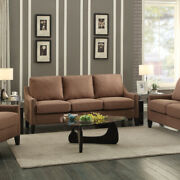 Linen Fabric Upholstered Wooden Three Seater Sofa With Nail Head Details, Brown