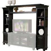 Saltoro Sherpi Wooden Wall Unit With Two Piers And Bridge, Black