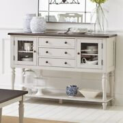 Saltoro Sherpi Spacious Wooden Server With Turned Legs, Dark Brown And Light Gray