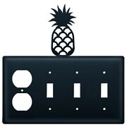 3 Switch And Duplex Outlet Cover With Metal Pineapple Accent, Black
