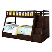 Saltoro Sherpi 2 Drawer Wooden Twin Over Full Bunk Bed With Storage Staircase