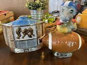 Vintage Set Of 2 Jim Beam Beams Decanters Empty Whiskey Bottle Glass