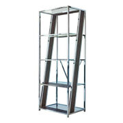 Saltoro Sherpi 4 Tier Metal Bookcase With Glass And Wooden Shelf Black And