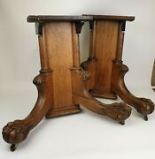 Antique Carved Wood Tiger Oak Ball And Claw Feet Table/piano Legs Unique Salvage