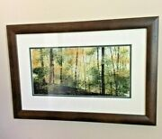 Mary Morrison Original Watercolor Ink Painting Yellow Woods Delaware Ohio Framed