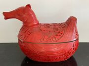 Antique Large Chinese Hand Carved Cinnabar Red Lacquer Duck Shaped Lidded Bowl
