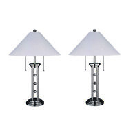 Saltoro Sherpi Modern Style Metal And Fabric Table Lamps, Set Of 2, Silver And