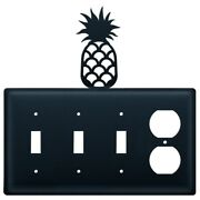 Triple Switch And Duplex Outlet Cover With Pineapple Accent, Black