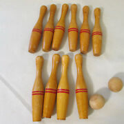 Antique Game Toy Lathe Turned 7 Wood Skittle Bowling Pins With 2 Wood Balls