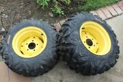 Sunf At24x10-12 Tires 2 Mounted On John Deere 425 Rims Used But Nearly New