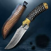 Fixed Blade Hand Hunting Knife Knives Vg10 Damascus Steel Camping Survival Tools