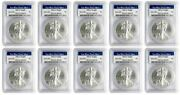2013 W 1 American Silver Eagle Pcgs Ms70 - West Point Label - Lot Of 10