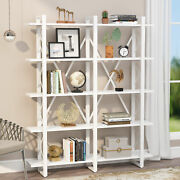 Open Bookshelf Rustic Industrial Style Shelves Wood And Metal Bookcase Furniture