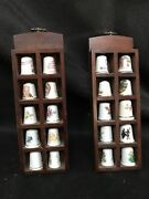 Thimble Display Cases X 2 20 Thimbles Wooden Set Of Two Lovely