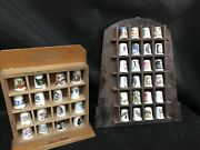 Thimble Display Cases X 2 With 40 Unique Thimbles Wooden Wall Mount Lovely Retro