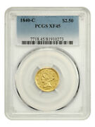 1840-c 2 1/2 Pcgs Xf45 - Scarce Charlotte Issue - 2.50 Liberty Gold Coin