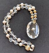 Antique Victorian Rock Crystal And Pearl 14ct Gold Pendant Necklace