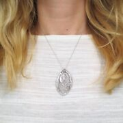 See Video Estate 2.35ct Diamond Pendant 14k White Gold On 18 Long Cable Chain