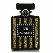Coco Suite Pin Brooch Black Gold Glitter Pearl Perfume Number 5 Bottle