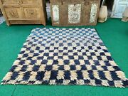 Vintage Flokati Rug Checkered Pattren Hand-knotted Rug Oushak Shaggy Rug 4684