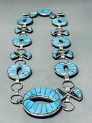 One Of The Best Vintage Navajo Turquoise Inlay Sterling Silver Necklace