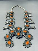 Authentic Vintage Navajo Coral Sterling Silver Squash Blossom Necklace