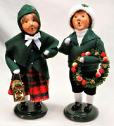 Byers Choice Boy And Girl From Family W/ Lantern Carolers - New - Free Shipping