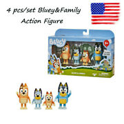 Bluey And Family Bingo Toys 4 Pcs Pack Action Figure Set Collection Toys Kids Gift
