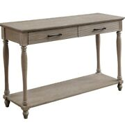 Saltoro Sherpi Wooden Sofa Table With 2 Drawers And Molded Design, Antique White