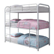 Saltoro Sherpi Metal Triple Twin Over Twin Size Bunk Bed With Built In Ladders