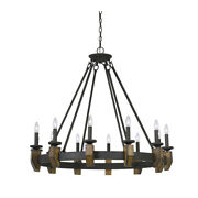 Saltoro Sherpi 12 Bulb Round Metal Chandelier With Candle Lights And Wooden