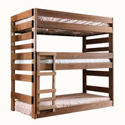Saltoro Sherpi Wooden Twin Over Twin Triple Bunk Bed With Attached Ladder Brown