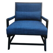 Fabric Padded Wooden Frame Accent Sofa Chair With Armrest Black And Blue