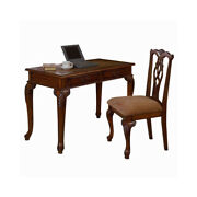 Saltoro Sherpi 2 Piece Traditional Style Wooden Desk And Chair Set Brown