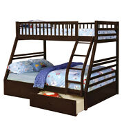 Saltoro Sherpi Wooden Twin Over Full Bunk Bed With 2 Drawers Espresso Brown