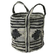 Tote Bag With Salvaged Leather Accent, Gray And Black ,saltoro Sherpi