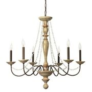 Chandelier With Turned Wooden Support And Crystal Beads Brown Saltoro Sherpi