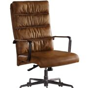Saltoro Sherpi Faux Leather Upholstered Wooden Office Chair With 5 Star Base