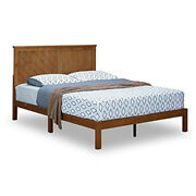 Saltoro Sherpi Queen Size Anti Skid Wooden Bed Frame With Headboard, Natural