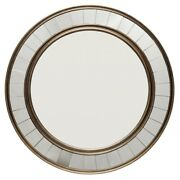 Wall Mirror With Round Double Molded Wooden Frame, Antique Bronze ,saltoro