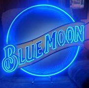 Large Blue Moon Neon Led Bar Sign Light 30 Round For Man Cave Or Garage Look