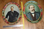 Pair Of Roosevelt And Alton B. Parker W.r. Tonkin Co. Beer Tray Advertising Early