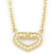 Necklace Gold 18k K18 Gold Diamond C Heart From Japan Used
