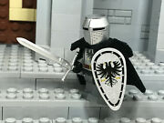 Lego Teutonic Crusader Knight W/ Custom Great Helm And Double Eagle Emblem