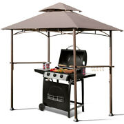 Gymax 8'x5' Outdoor Barbecue Grill Gazebo Canopy Tent Patio Bbq Shelter W/air